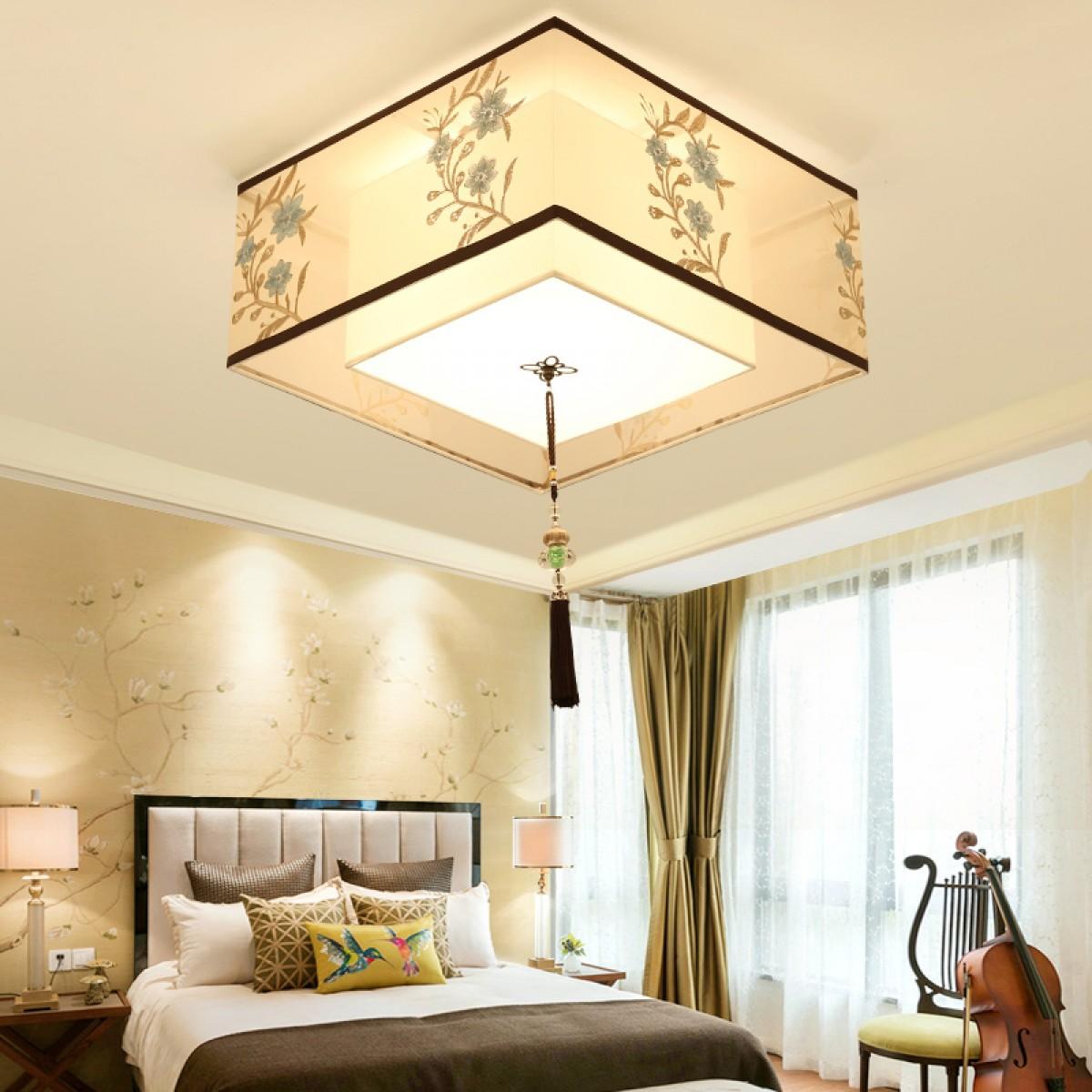 餐厅方形吸顶灯新中式卧室灯现代简约布艺客厅吸顶灯led书房