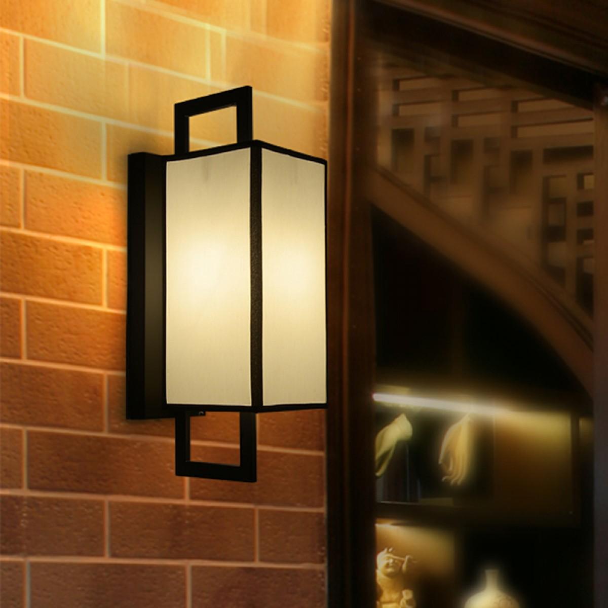 新中式壁灯铁艺布艺客厅走道卧室客房床头灯客厅装修酒店工程灯