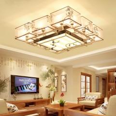 简约卧室书房餐厅灯具客厅新中式吸顶客厅灯印花布艺装饰工程