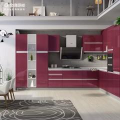 金牌厨柜华尔兹厨房橱柜定制现代简约烤漆门板厨柜定做整体厨房
