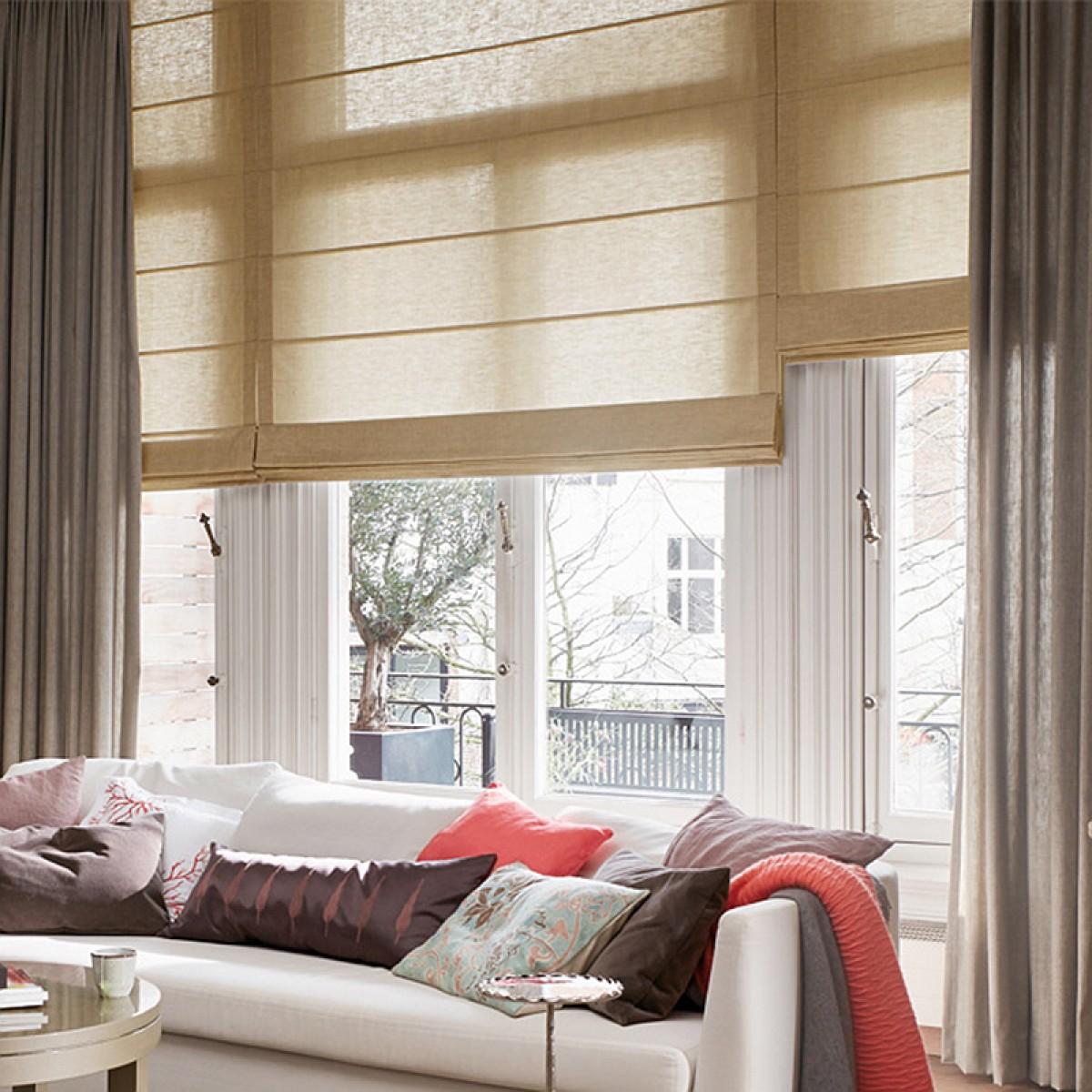 艾菲幔窗帘 清晨的阳光亚麻质地透光窗帘