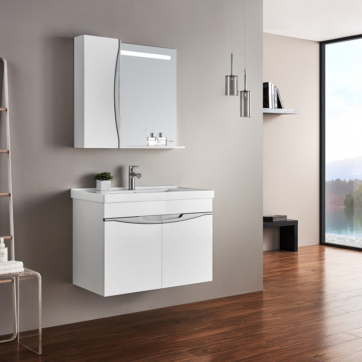 浪鲸卫浴浴室柜组合套装小户型洗脸洗手盆卫浴柜洗漱台简约现代挂墙式 BF1001-080