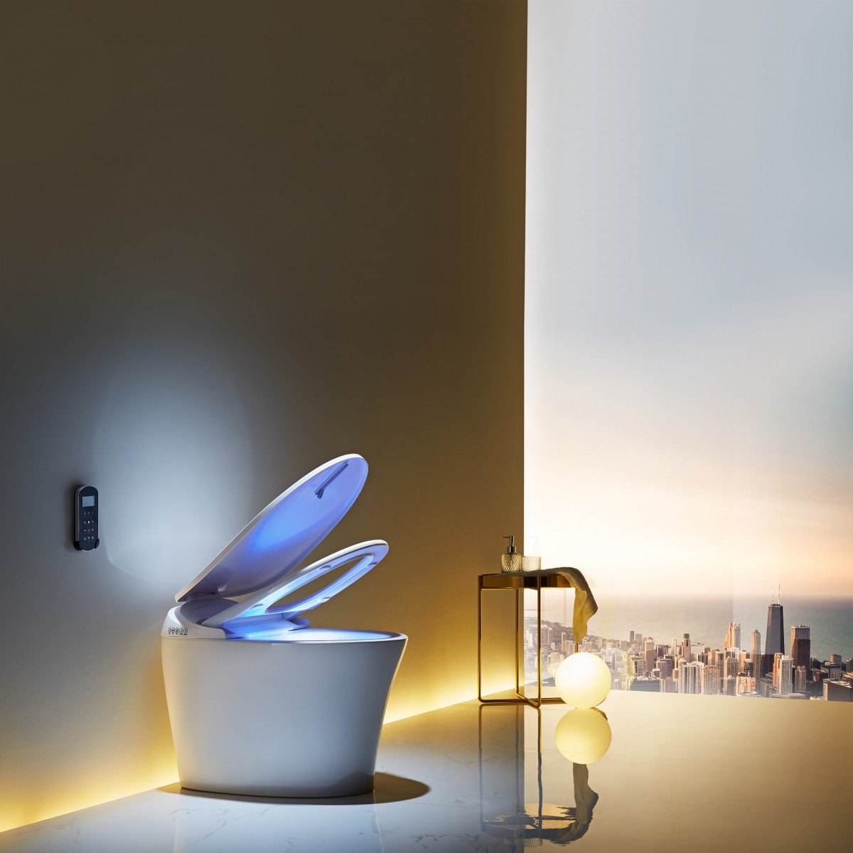 浪鲸卫浴一体式全自动智能马桶加热冲洗烘干家用座坐便器ICO523