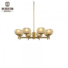 欧思灯饰 小美式吊灯简约全铜灯具客厅灯温馨纯铜餐厅卧室灯 米苏灯饰83009