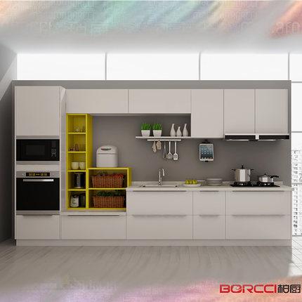 柏厨厨柜整体厨房橱柜定制三米阳光-马卡龙现代简约双饰面门板