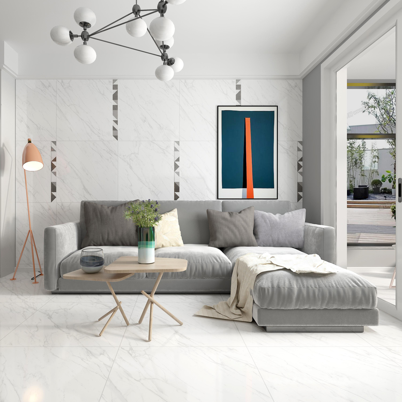 欧神诺瓷砖—仿大理石全抛釉砖—极地白ELM04180S—800*800