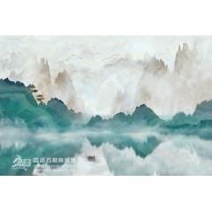 盛画石材背景墙  新中式风格  青山潭影  沙发 电视  书房 背景
